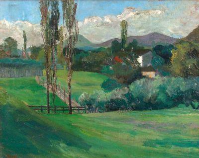 Петър Стайков - Пейзаж в зелено - Художествена галерия - Смолян