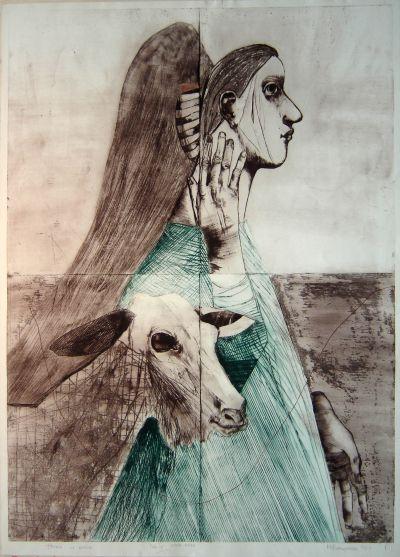 Вапцарова Маня  - Жена и коза - Художествена галерия - Смолян